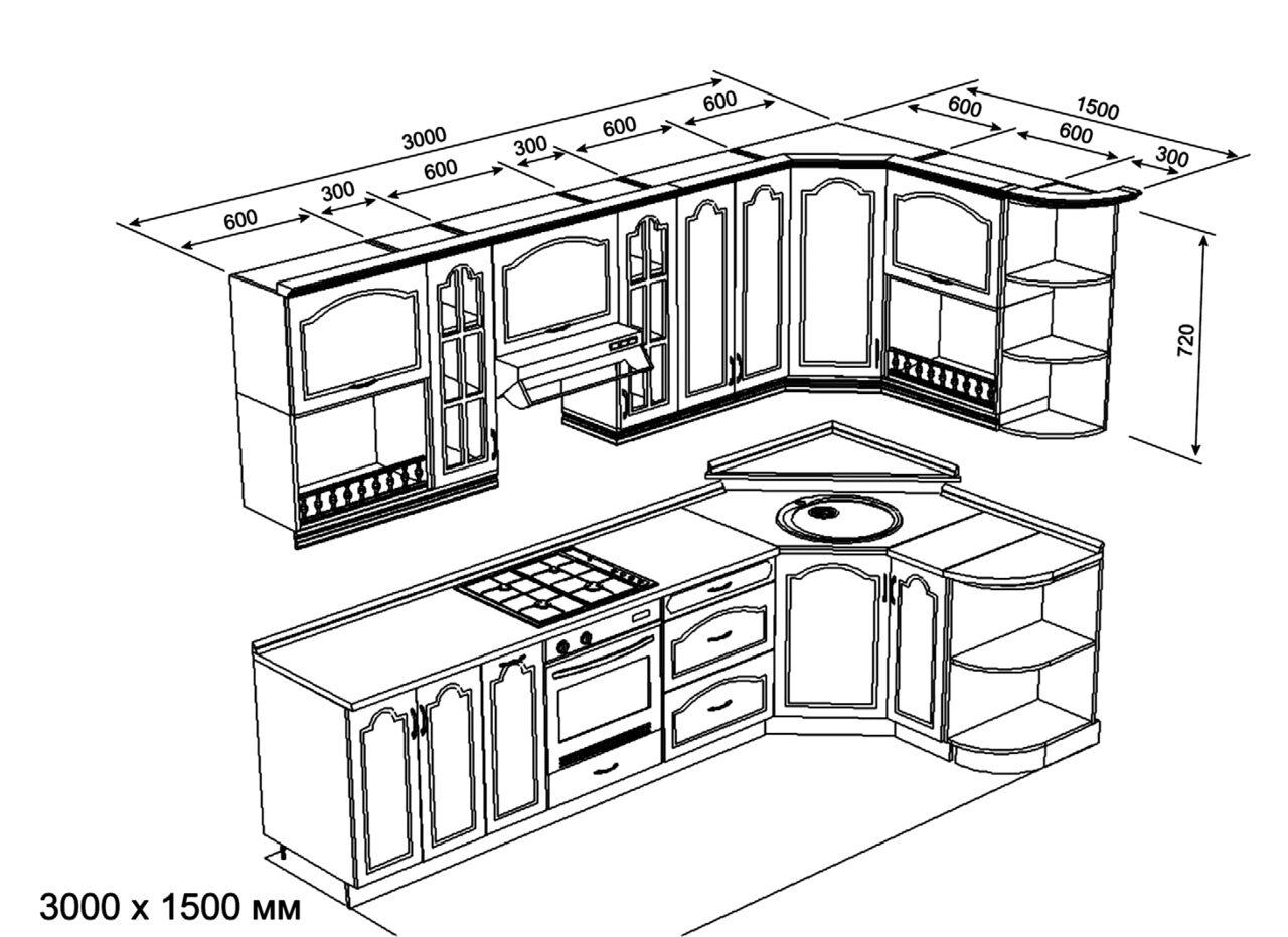 Угловая кухня своими руками из дерева чертежи 16