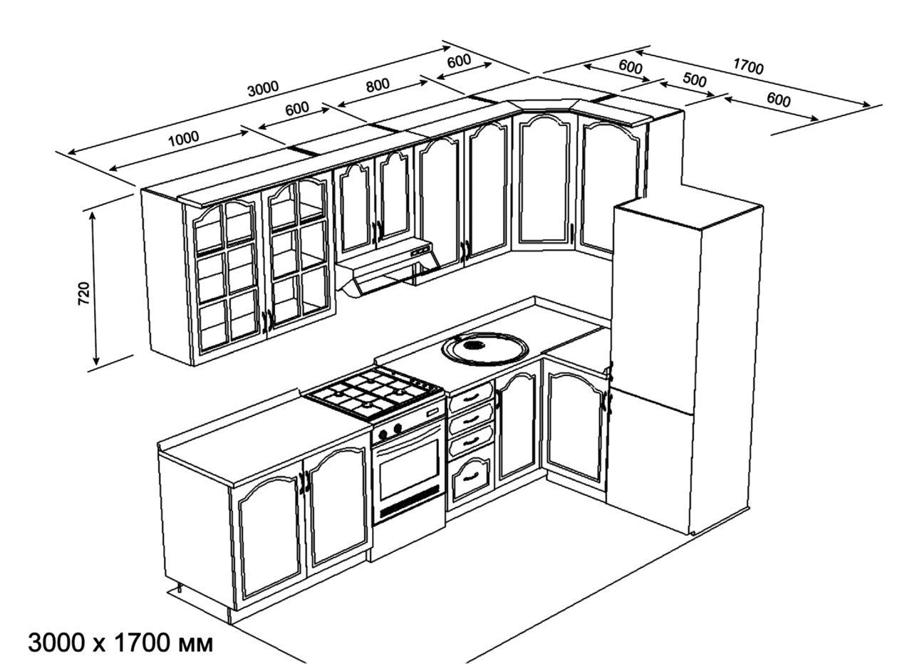 дизайн мебели для угловой кухни