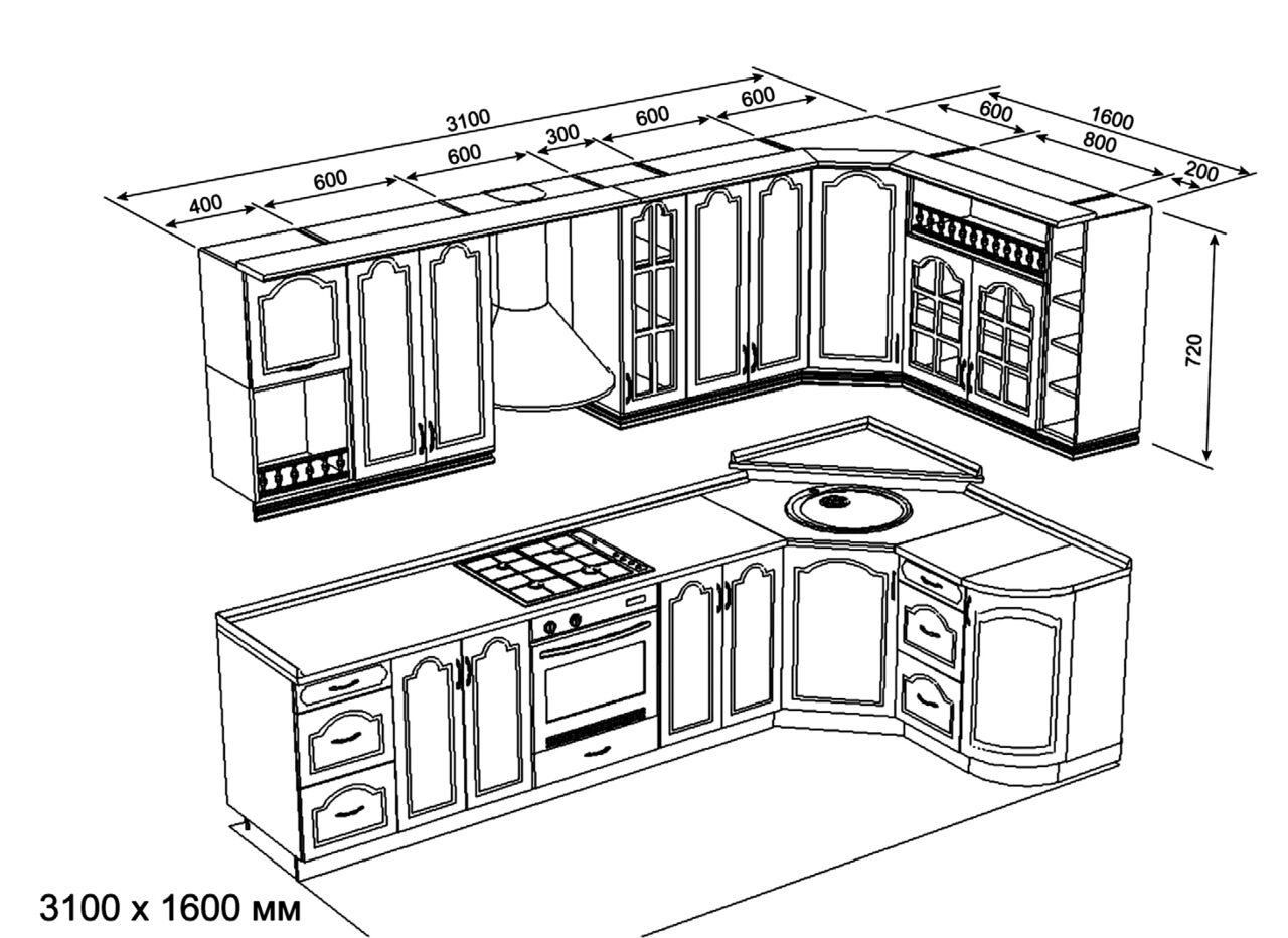 Эскиз угловой кухни своими руками