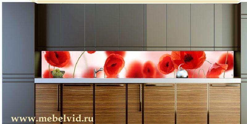 Кухонный фартук из стекла цветы