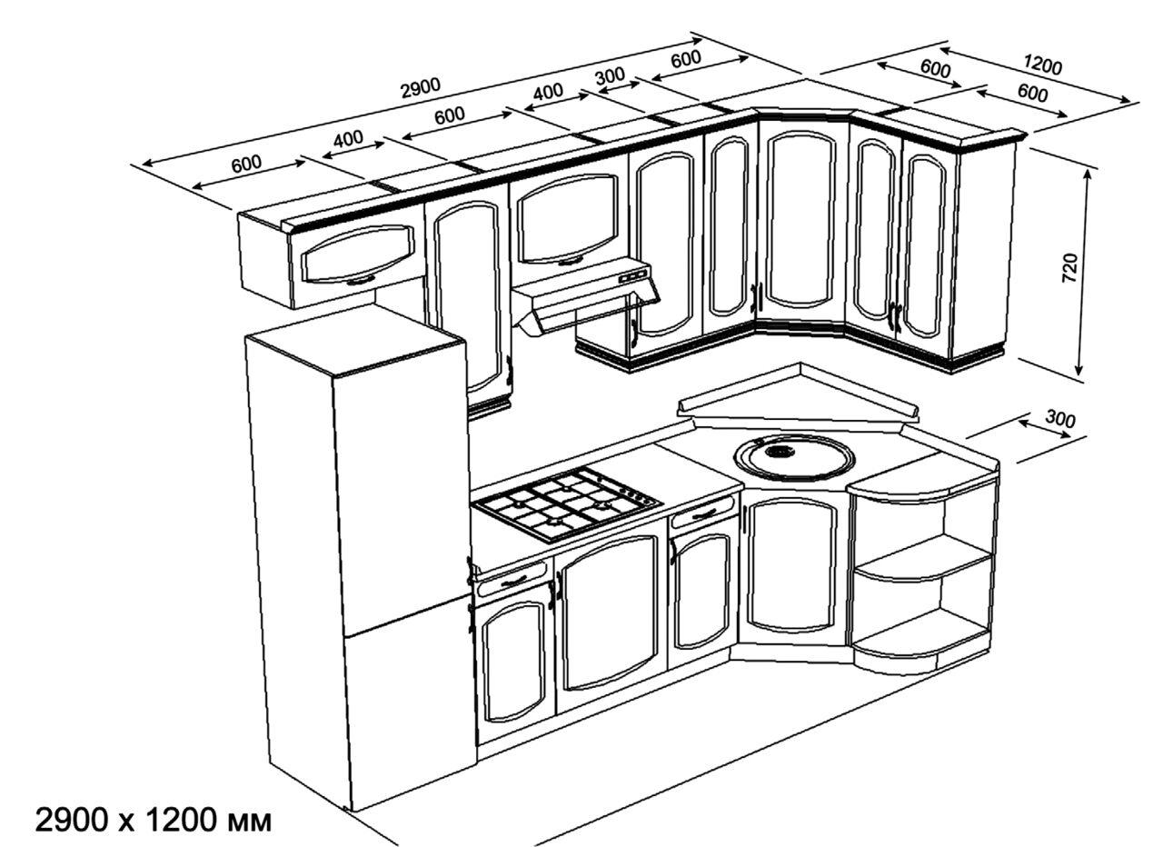Кухни дизайн угловые и их схемы с холодильником