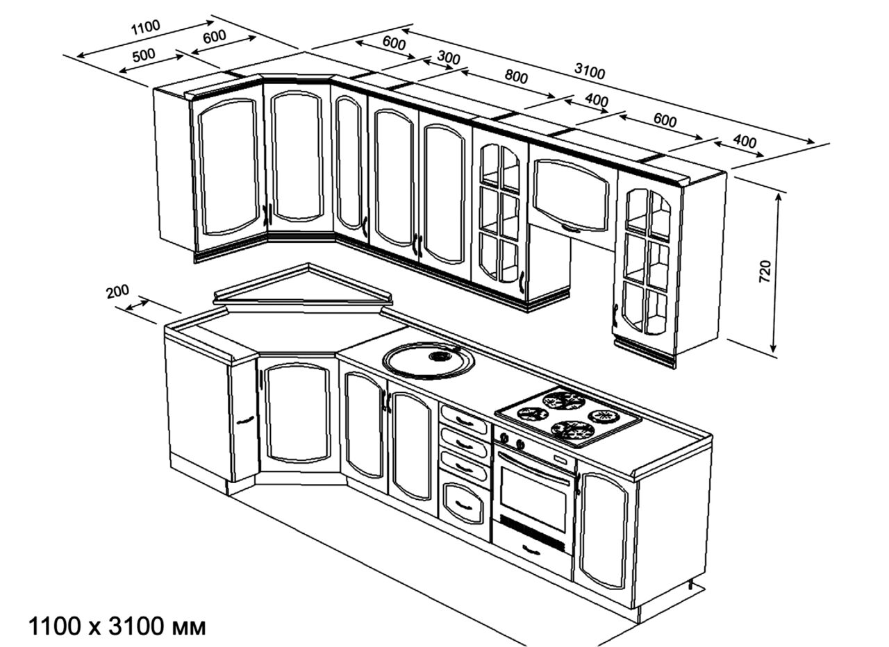 Готовые схемы кухонь.