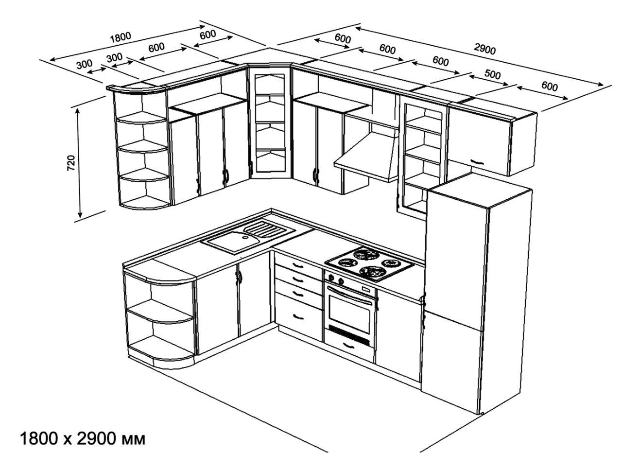 Дизайн кухни своими руками угловые 50