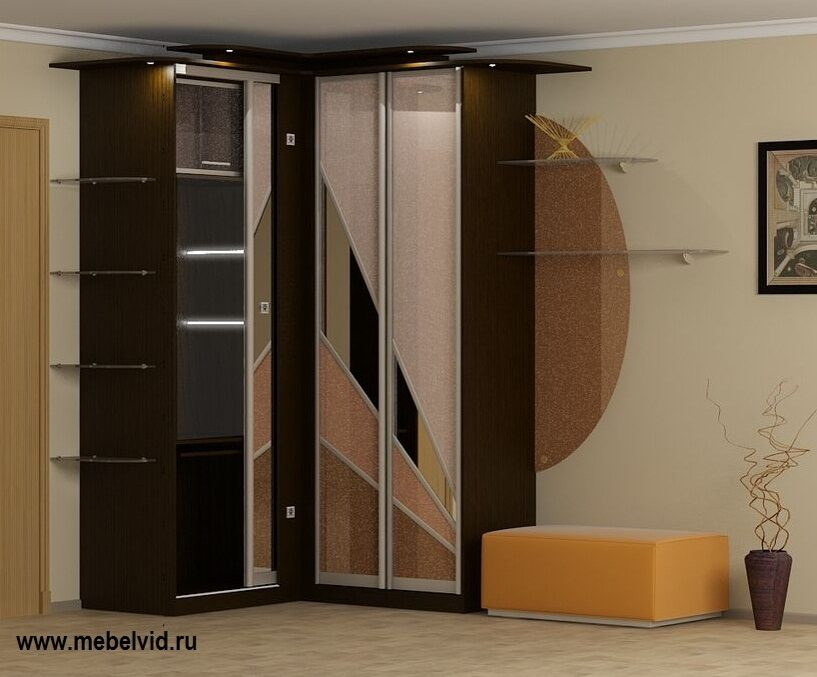 шкафы купе в коридор угловые фото