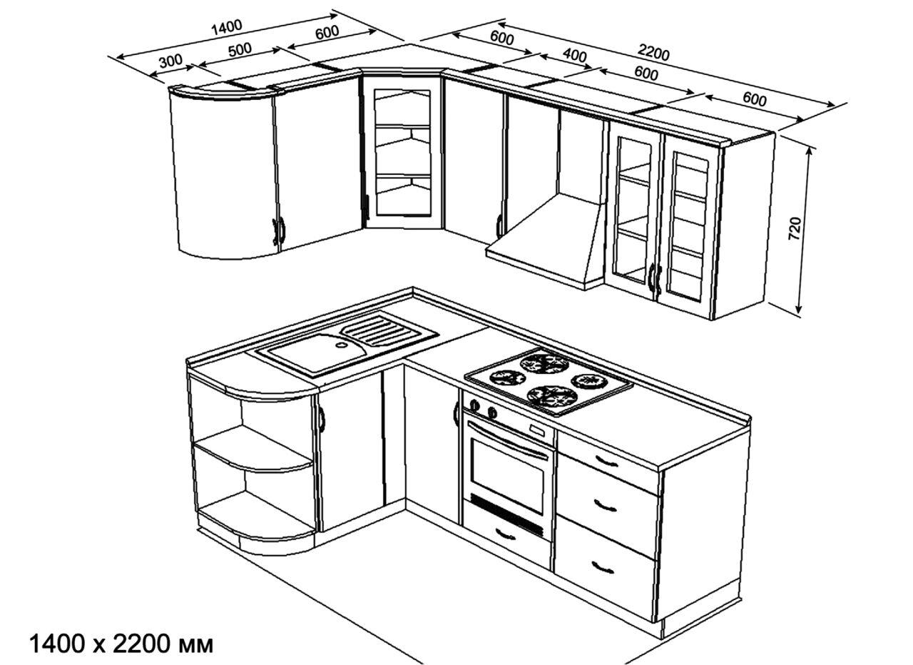 типовой проект кухни проект угловой кухни