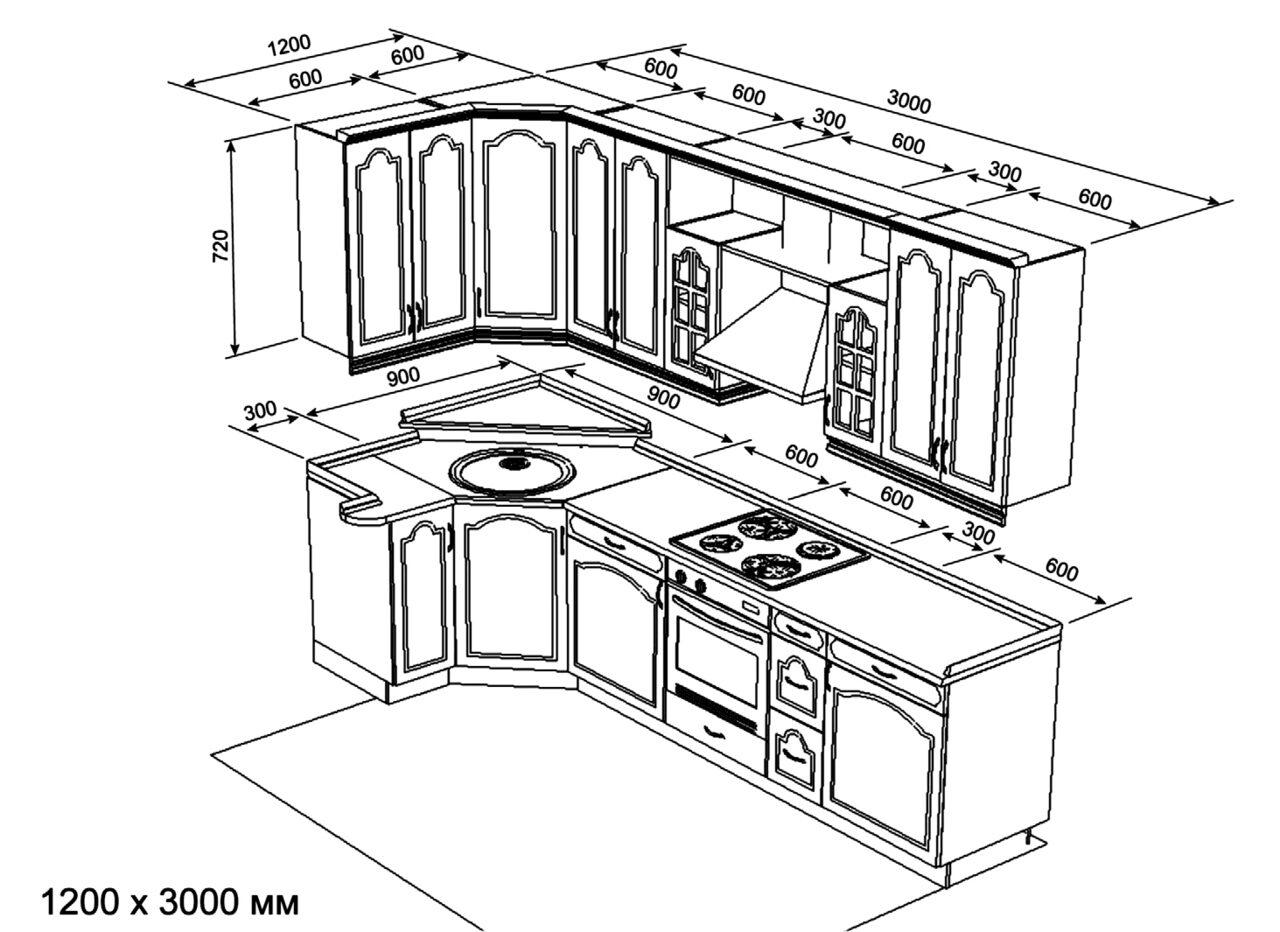 полезные эскизы кухонь с размерами фото сфере производства