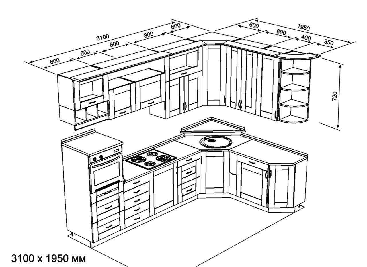 проектирование кухни угловой картинки ближе