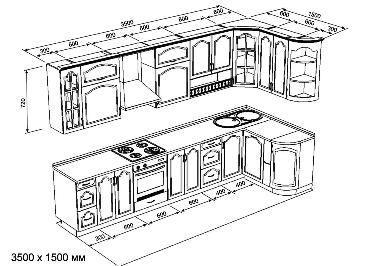 картинки угловой кухни чертеж